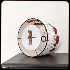 diamètre 30 cm / ht 25 cm * blanc pur / blanc cassé * pavots / libellules
