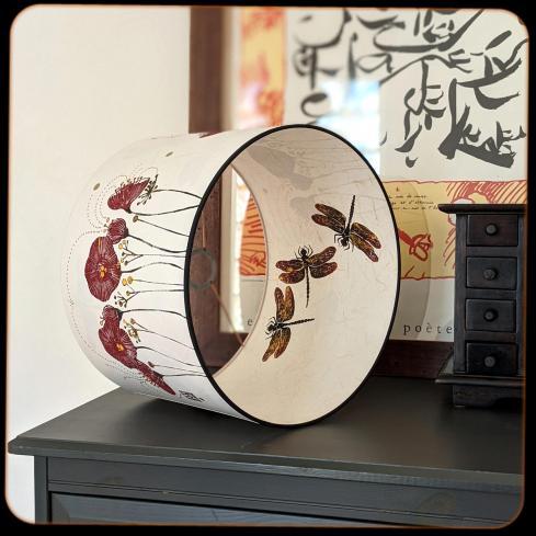 diamètre 30cm / ht 20cm * blanc pur / blanc cassé * pavots / libellules