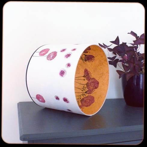 diamètre 25 cm / ht 25 cm * blanc pur / orange * coquelicots / pavots