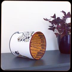 diamètre 30 cm / ht 25 cm * blanc pur / orange * arbre étoiles, oiseaux / forêt de bouleaux