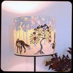 diamètre 30 cm / ht 25 cm * blanc pur / orange * renard, arbre étoiles, oiseau / forêt avec racines
