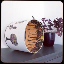 diamètre 30 cm / ht 25 cm * blanc pur / orange * renard, arbre étoiles, arbre volutes, oiseau / forêt avec racines